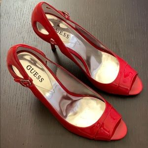 Red Guess Open Front Stiletos in Size 7.5